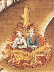 Verbrennung zweier Sodomiter (Zürich, 1482) in einer Darstellung in Diebold Schillings Chronik der Burgungderkriege (ca. 1483). Quelle: WikCommons; gemeinfrei.
