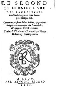 Straparola 1596 title